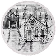 Barn And Sheep Round Beach Towel
