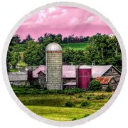 Barn And Silo With Infrared Touch Of Pink Effect Round Beach Towel