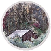 Barn At Cades Cove Round Beach Towel