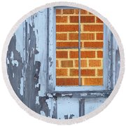 Barn Brick Window Round Beach Towel