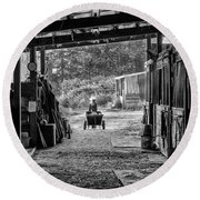Barn Chores Round Beach Towel