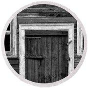 Barn Door And Windows Bw Round Beach Towel