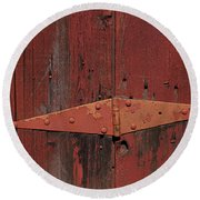 Barn Hinge Round Beach Towel by Garry Gay