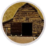 Barn In Sepia Round Beach Towel