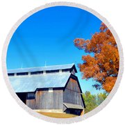 Barn In The Fall  Round Beach Towel