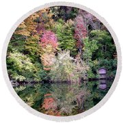 Barn In The Mirror Round Beach Towel