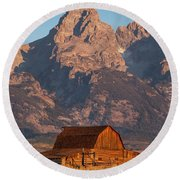 Barn In The Tetons One Round Beach Towel