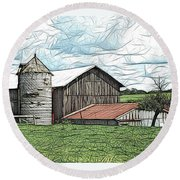 Barn Landscape Colored Pencil Chicken Scratch Effect Round Beach Towel