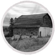 Barn On The River Flat Round Beach Towel
