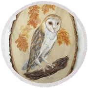 Barn Owl - Enduring Insight Round Beach Towel