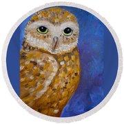 Barn Owl- Impressionism- Owl By Night Round Beach Towel