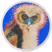 Barn Owl Painting Round Beach Towel