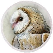 Barn Owl Watercolor Round Beach Towel