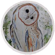 Barn Own Impressionistic Painting Round Beach Towel
