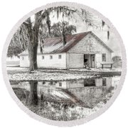 Barn Reflection Round Beach Towel