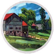 Barn Roofs Round Beach Towel