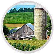 Barn Silo And Crops In Nys Expressionistic Effect Round Beach Towel