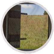 Barn Window View Round Beach Towel