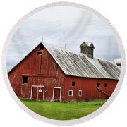 Barn With A Cross Round Beach Towel
