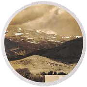 Barn With A Rocky Mountain View In Sepia Round Beach Towel