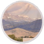 Barn With A Rocky Mountain View  Round Beach Towel
