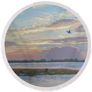 Barnegat Bay At Sunset Round Beach Towel