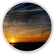 Barnegat Bay Sunset - Jersey Shore Round Beach Towel