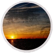 Barnegat Bay Sunset - Jersey Shore Round Beach Towel