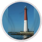 Barnegat Lighthouse And Inlet New Jersey Round Beach Towel