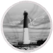 Barnegat Lighthouse In Black And White Round Beach Towel