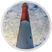 Barnegat Lighthouse In The Clouds Round Beach Towel