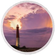 Barnegat Lighthouse Stormy Sunset Round Beach Towel