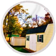 Barns In Autumn Round Beach Towel