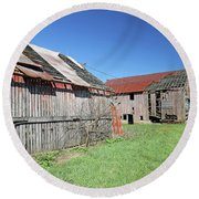 Barns Of Old Round Beach Towel