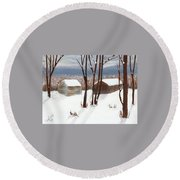 Barns Of West Sand Lake Round Beach Towel