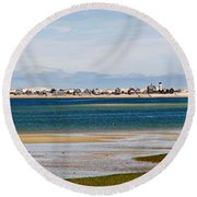 Barnstable Harbor Panorama Round Beach Towel