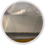 Barnstable Harbor Rainbow Round Beach Towel