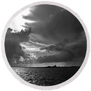 Barnstable Harbor Sky Round Beach Towel