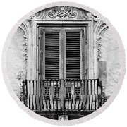 Baroque Balcony Window. Messina, Sicily.    Black And White Round Beach Towel