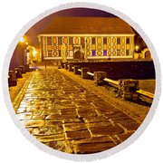 Baroque Town Of Varazdin Square At Evening Round Beach Towel