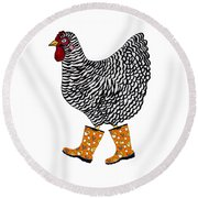 Barred Rock With Boots Round Beach Towel