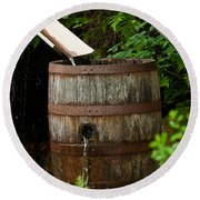 Barrel Of Water Round Beach Towel