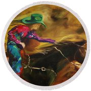 Barrel Racer Round Beach Towel