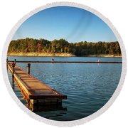Barren River Lake Dock Round Beach Towel