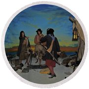 Barring Buccaneers Round Beach Towel by DigiArt Diaries by Vicky B Fuller