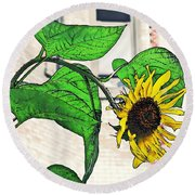 Barrio Sunflower Round Beach Towel by Sarah Loft