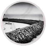 Barry Island Breakwater Film Noir Round Beach Towel