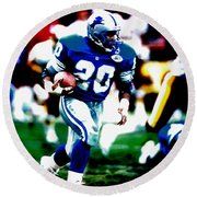 Barry Sanders On The Move Round Beach Towel