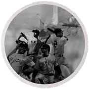 Base Ball Players Round Beach Towel
