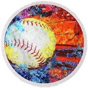 Baseball Art Version 6 Round Beach Towel